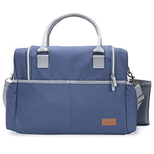(Lifewit Große Wickeltasche Mama Tasche Reisetasche mit Griff und Schultergurt, Multifunktional Schultertasche Tragetasche für Mutter (grau und blau))