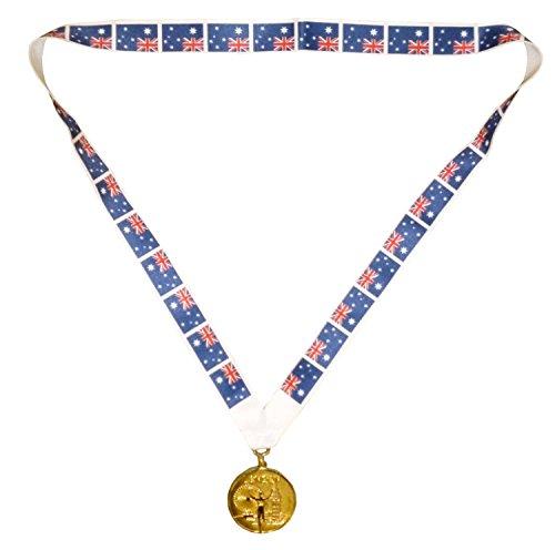 AUSTRALIEN OLYMPISCHE MEDAILLE -Goldenes Olympisches Spiel Stil Medaille mit australischer Kordel (Schmuck Kostüm Australien)