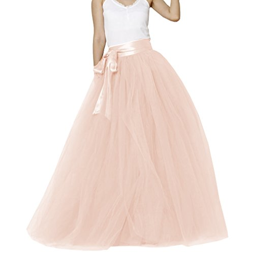 Matrimonio Donna pavimento lunghezza tulle sposa gonna con fiocco Blush Pink