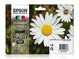 Original Tinte passend für Epson Expression Home XP-200 Series Epson 18XL C13T18164010-4x Premium Drucker-Patrone - Schwarz, Cyan, Magenta, Gelb - 1x 470, 3x 450 Seiten - 1x 11,5 & 3x 6,6 ml