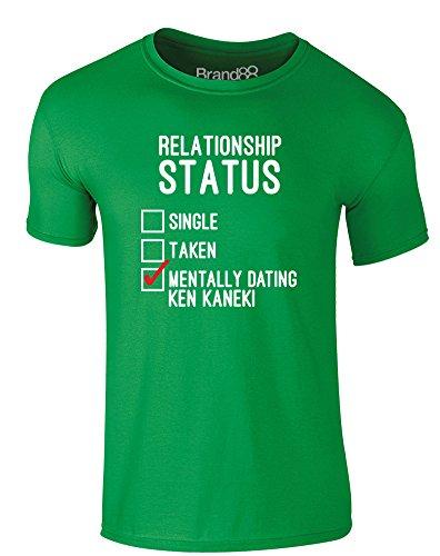 Brand88 - Mentally Dating Ken Kaneki, Erwachsene Gedrucktes T-Shirt Grün/Weiß/Rote