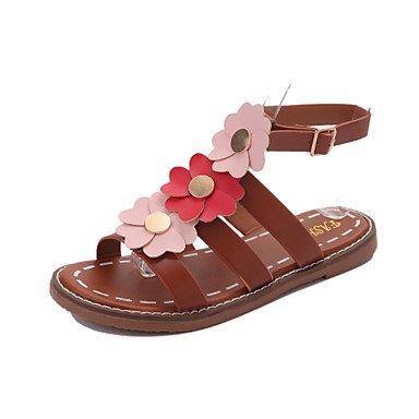 zhENfu Donna Sandali similpelle outdoor Abbigliamento Sportivo tacco piatto Applique a piedi Light Brown