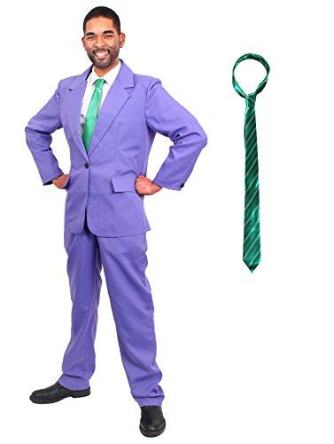 ILOVEFANCYDRESS GANOVEN BOSS KOSTÜME VERKLEIDUNG DER EXTRA KLASSE Film UND FERNSEH Fasching Karneval=BEINHALTET-LILA Anzug+GRÜNER Krawatte MIT GRAUEN/GELBEN Streifen= XLarge (X Men Bösewicht Kostüm)