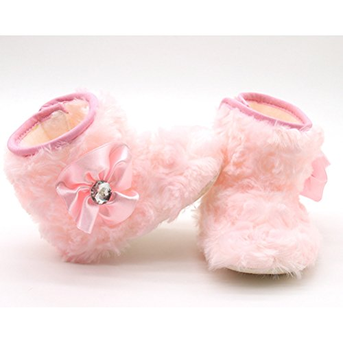 Zhhlinyuan Cute Baby Winter Warm Cotton Shoes Toddler Soft Sole Snow Boots MBE004 Pink