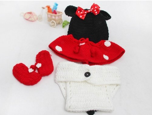 Image of 4pcs Set Newborn Baby Girl Beanie Crochet Minnie Mouse Hat Diaper Cover Skirt Bootie Outfit Costume Photography Photo Props