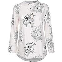 Mujeres Tops Rovinci Mujer Cómodo De Moda Casual Collar del Soporte Botón Impreso Mangas largas Talla Extra Tops Suelto Camisa Blusa para Mujeres