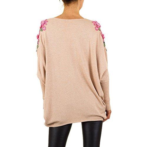 Bestickter Oversize Pullover Für Damen bei Ital-Design Beige