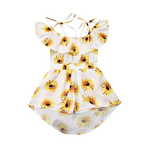Fenverk MäDchen Kleid Party Kids TräGerkleid Sommer Urlaub Prinzessin Baby Festzug äRmellos Drucken Kleider(Weiß,18-24 Monate)(Weiß,18-24 Monate)