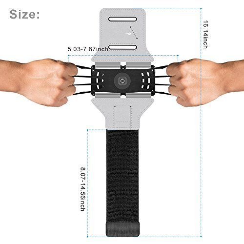 VUP Cell Phone Armband for Workout Biking Walking for iPhone X 8 Added to 8 7 Furthermore 7 6 Plus 6 6S, Galaxy S8 S7 S5, Google Pixel, Adjustable Reflective Orchestra Running Armand with Key Holder(Gleaming plate)