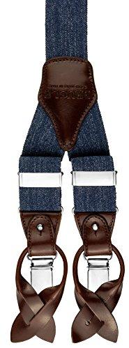 BRUCLE bretelle uomo jeans elastico e pelle doppio uso clip e bottoni blu