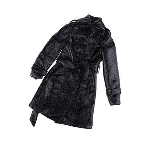 Baoblaze Mode Schwarz PU-Kunstleder Mantel mit Gürtel Freizeitkleidung Für 1/3 Bjd Puppe Outfit