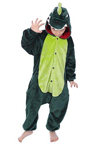 Kigurumi Pyjamas, Kinder Pyjamas Tier Einhorn Jumpsuit Nachtwäsche Unisex Cosplay Kostüm für Mädchen und Jungen Kinder cosplay Halloween (M:Height(39.4inch-43.3inch / 100cm-110cm), (Herren Kostüm Halloween Dinosaurier)