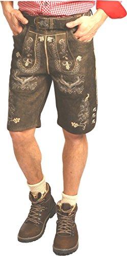 Kurze Trachten Lederhose in Ziegenvelour Gustav, Größe:42;Farben:torf