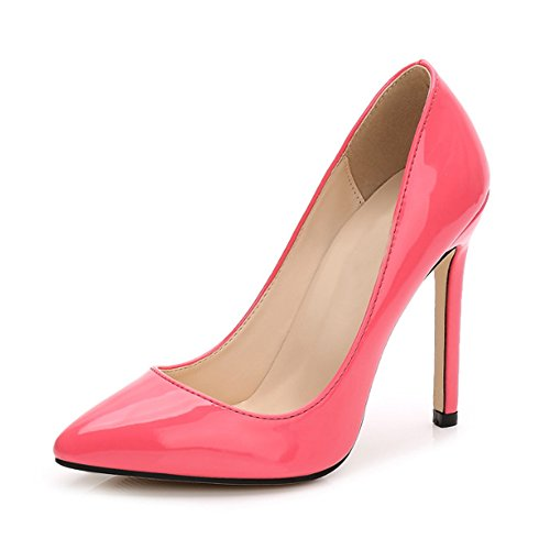 Ochenta Damen Pumps, sexy, High Heels, Pfennigabsatz, aus PU-Leder, für Club, Party, - Pêche Rouge - Größe: Asiatique 44 - EU 42 (Leder Heel Pumps)