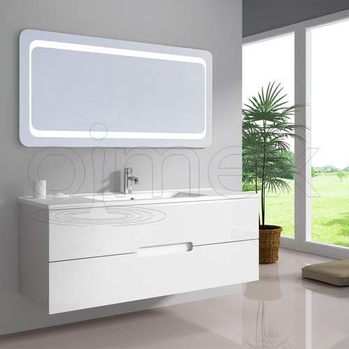 """oimexgmbh Design Badmöbel Set """"Tiana"""" Single Weiss Hochglanz Einzel Waschtisch 120cm inkl. Armatur LED Spiegel Badezimmermöbel Set mit Waschbecken"""