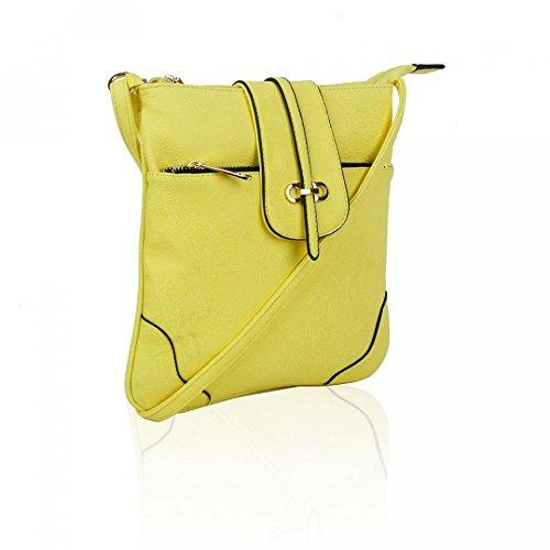 LeahWard® Damen Kunstleder Umhängetasche mit Reißverschluss Abteil Damen Klein Größe Essener Mode Qualität Handtaschen 150961 150964-Lemon Chiffon
