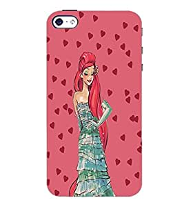 PrintDhaba Girl and Hearts D-2694 Back Case Cover for APPLE IPHONE 4 (Multi-Coloured)