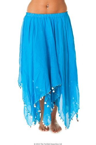 51a050ce9 Turkish Emporium falda danza oriental turquesa plateado