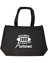 November 1989 28 Years Of Being Awesome Funny Birthday Gift - Tote Bag With Zip