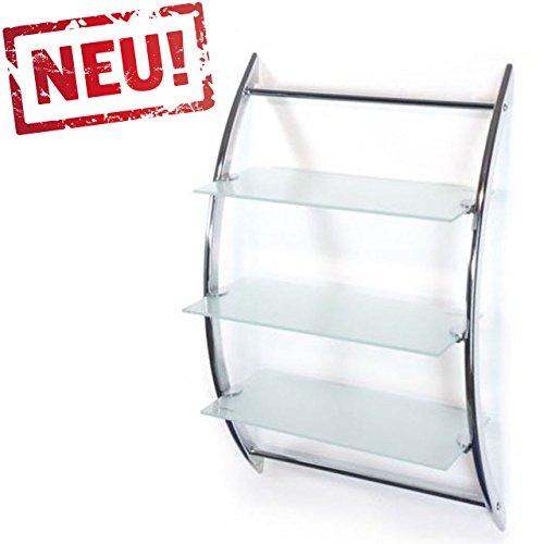 Hochwertiges Badregal Wandregal Glasregal mit 3 Glasablagen aus Milchglas - Größe 70 x 45 x 28 (HxBxT)