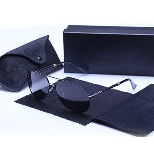 QQBL Männliche und Weibliche GM Retro-Trend Metall UV400 Harz Polarisierte Sonnenbrille,Blacksilver