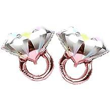 Toyvian 2 Piezas Globos Anillo de Diamantes para Bodas románticas Ducha Nupcial Aniversario Decoración - Tamaño