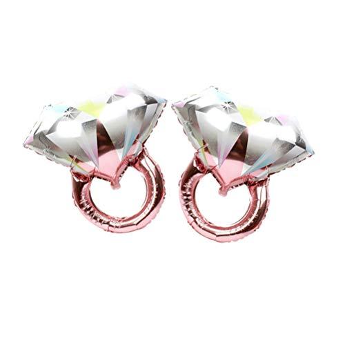 Toyvian 2 Stück Diamant Ring Folienballons für romantische Hochzeit Brautdusche Jubiläum Party Dekoration - große Größe (Rose Gold)