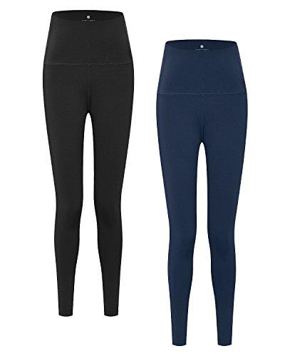 Lapasa Damen Sport Leggings - TUMMY CONTROL - High Waist Lang Yoga Sporthosen Tights für Gym Fitness L01 (XL/X-Large (Taille 85 – 89 cm), Schwarz+Dunkelblau) (Eisen-polyester Hose)