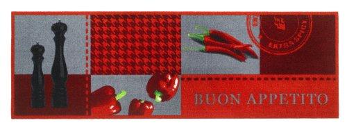 Roter Küchenläufer / Rote Küchenmatte /Roter Läufer / Roter Dekoläufer für Küche und Bar / Hot Chili / Pfeffer / Paprika / Rot / Der Hingucker in Ihrer Küche / Ihre Gäste werden staunen / waschbare Küchenläufer / Küchendeko Modell ,,COOK & WASH buon appetito -