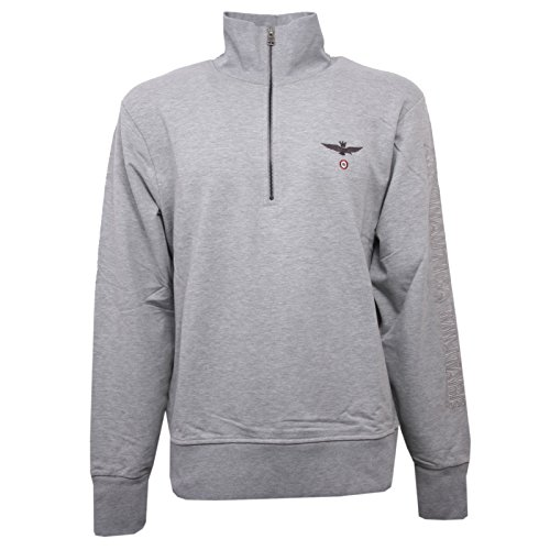 C1040 felpa uomo aeronautica militare grigio chiaro sweatshirt men [xl]