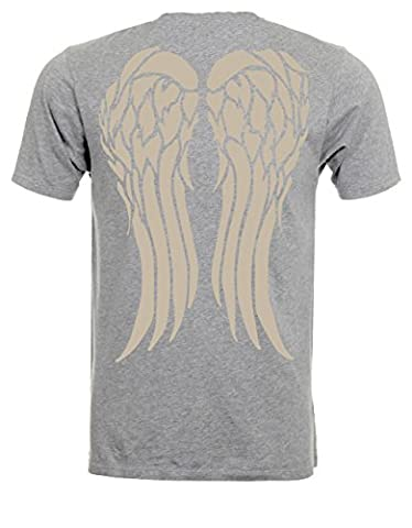 Angel Wings On Back Daryl Biker Jacket Inspired Tshirt Tee Top - Grey - 17 inches - Small