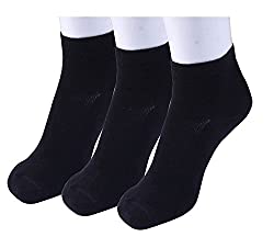 Neska Moda Standard 3 Pair Mens Solid Free Size Cotton Rich Ankle Length Socks - Black Color Formal Socks