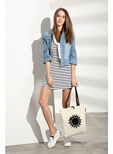 So'each Women's Sun Flower Graphic Top Handle Canvas Tote Shoulder Bag Natural Color
