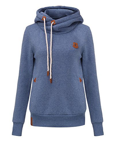 StyleDome Winter Damen Hoodies Pullover Langarm Jacke Top Sweatshirt Pullover Tops Jumper Blau333850 XL - 3