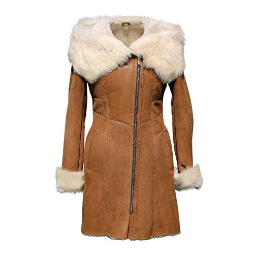 Lammfelljacke - MAGDALENA Damen Merino Felljacke Lederjacke Winterjacke mit Kapuze Size L, Color Cognac