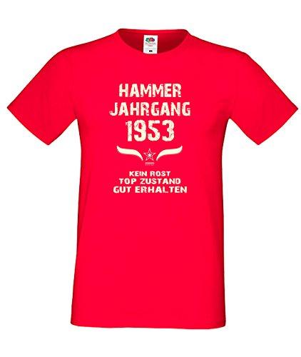 Sprüche Motiv Fun T-Shirt Geschenk zum 64. Geburtstag Hammer Jahrgang 1953 Farbe: schwarz blau rot grün braun auch in Übergrößen 3XL, 4XL, 5XL rot-01