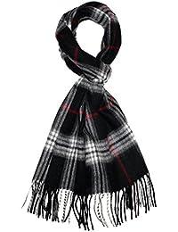Lorenzo Cana Italian Scarf Pashmina Cashmere Wool Shawl 71'' x 12'' Checkered Black White Red 9324811