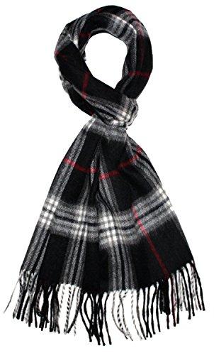 LORENZO CANA Luxus Herrenschal - hochwertiger warmer Schal aus Wolle mit Kaschmir flauschiger Winterschal 30 cm x 180 cm Kariert Check Herrenschal Herren gewebt mit Fransen