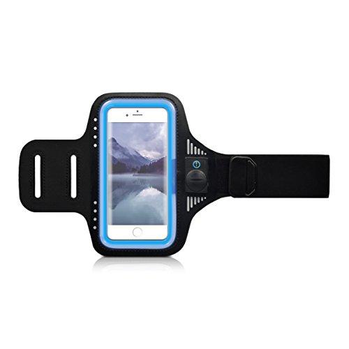 kwmobile Sport Armband für Smartphones mit LED Licht - Jogging Sportarmband in Blau (Evo Fitness)
