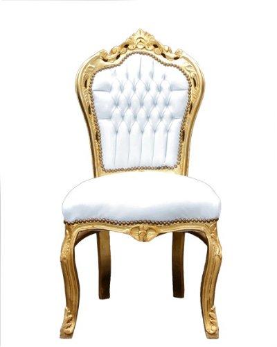 Casa Padrino Barock Esszimmer Stuhl Weiß/Gold - Möbel Antik Stil