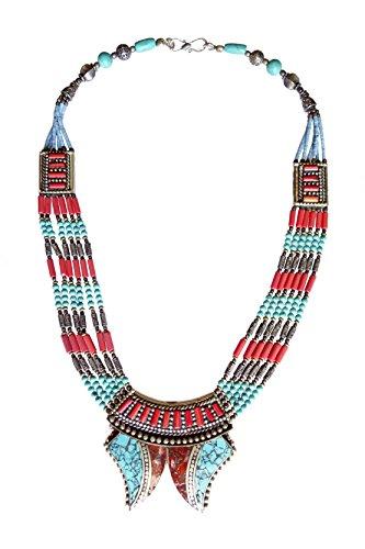 TIBETANA CORALLO collana di turchese E DONNE 925 ciondolo in argento argento tibetano