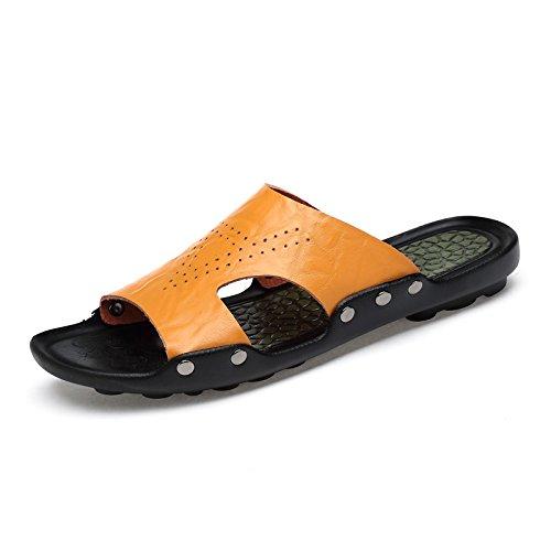 Xing Lin Sandales Pour Hommes Chaussures D'Hommes De L'Été Nouveau Slipper Antidérapant Pour Hommes Sandales Sandales Tongs Chaussures En Cuir M yellow