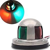 SODIAL Iluminación de Se?al de Barco, 2 En 1 Verde Y Rojo LED Luz de Navegación de Arco de Yate Marino de Acero Inoxidable Paquete de 1