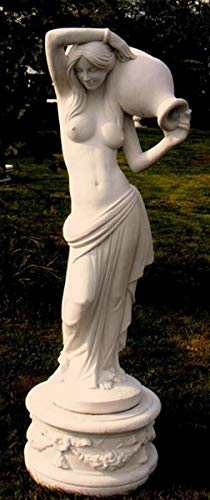 Casa Padrino Jugendstil Wasserspeier Skulptur Frau mit Krug Weißgrau 44 x 33 x H. 120 cm - Gartendeko Figur