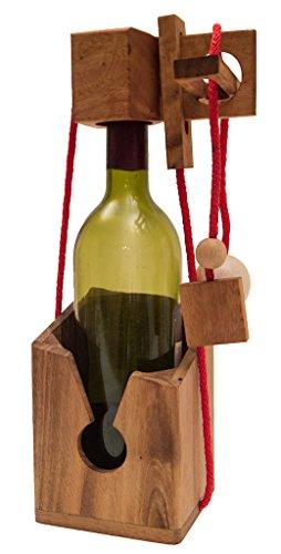 ROMBOL Flaschentresor - Edler Tresor aus Holz für Weinflaschen, Modell:1