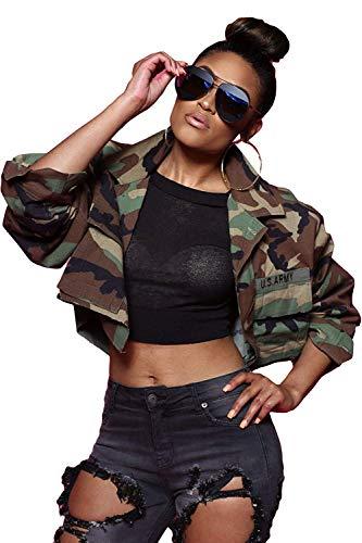 Jacken Damen Frühling Herbst Camouflage Aufdruck Jacket Kurz Relaxed Täglich Kleidung Freizeit Longsleeve Army Military Mantel Outerwear (Color : Grün, Size : M)
