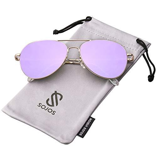 SOJOS Mode Metallrahmen Verspiegelt Linse Herren Damen Sonnenbrille mit Frühlings Scharnieren SJ1030 mit Gold Rahmen/Lila Linse