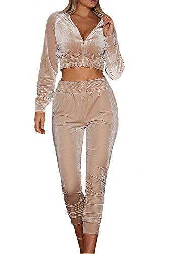 LANOMI Damen Freizeitanzug Sportanzug Jogginganzug Sportjacke Jacke mit Reißverschluss Sporthose Hose mit Tunnelzug (Etikett M/EU 36-38, Khaki) (Anzug-jacken Frauen)