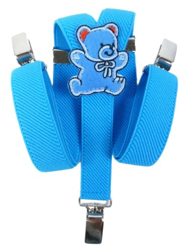 Baby-Childrens-Elasticated-Clip-on-Braces-Suspenders-with-Teddy-Bear-Design