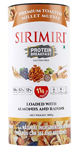 SIRIMIRI Premium Toasted Millet Muesli Protein Breakfast Loaded with Almonds and Raisins, 500 Grams - Gluten Free (with Natural Cardamom Oil)